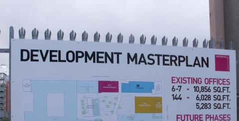 Sign that reads development masterplan