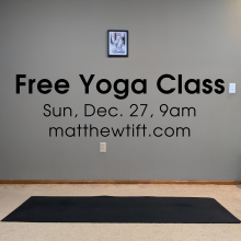 Yoga mat with a free yoga class on December 27