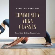 Community Yoga Classes poster with people doing down dog
